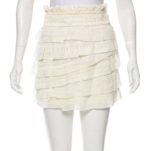 NWOT IRO DELIA tiered ruffled cream skirt size 38